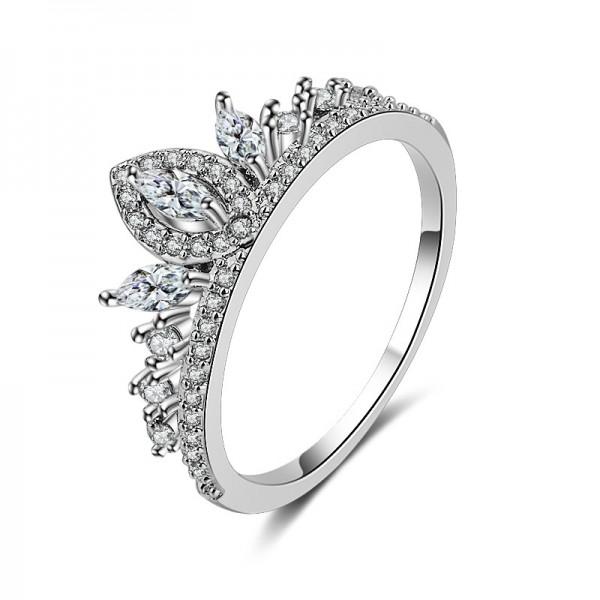 925 Sterling Silver Femininity Crown Diamond Ring