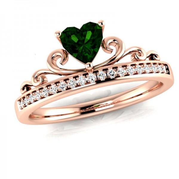 Diamond Inlaid Rose Gold Heart Zirconia Crown Rings