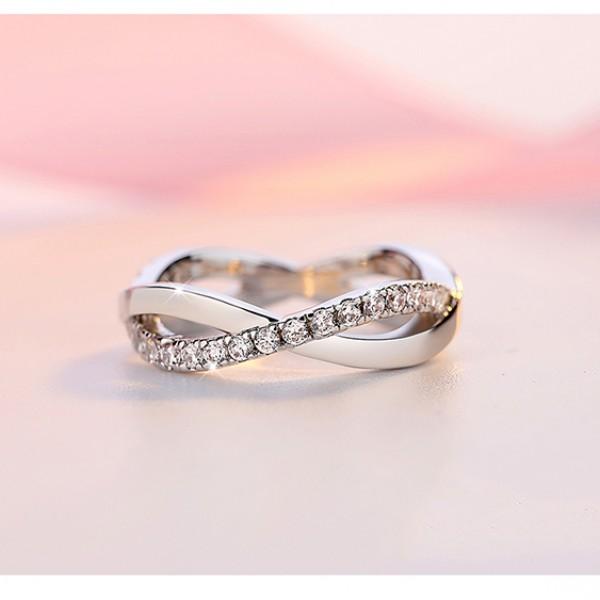Diamond Ring Cross Simulation 925 Silver Rings