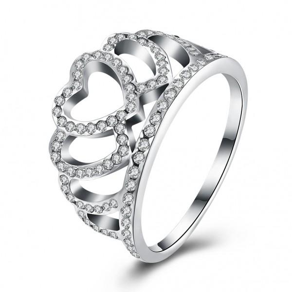 S925 Sterling Silver Ring Women Fashion Crown Diamond Ring
