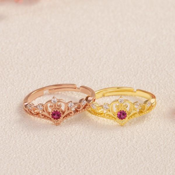 Plating Zircon Inlaid Ladies Crown Diamond Ring