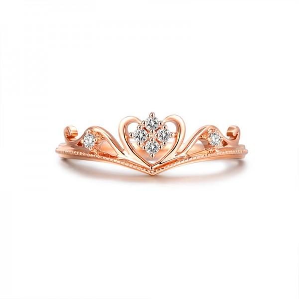 S925 Sterling Silver Crown Ring Diamond Women Ring