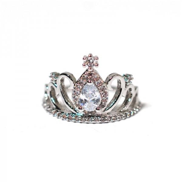 Micro-Studded Zircon Shiny Three-Dimensional Diamond Crown Ring