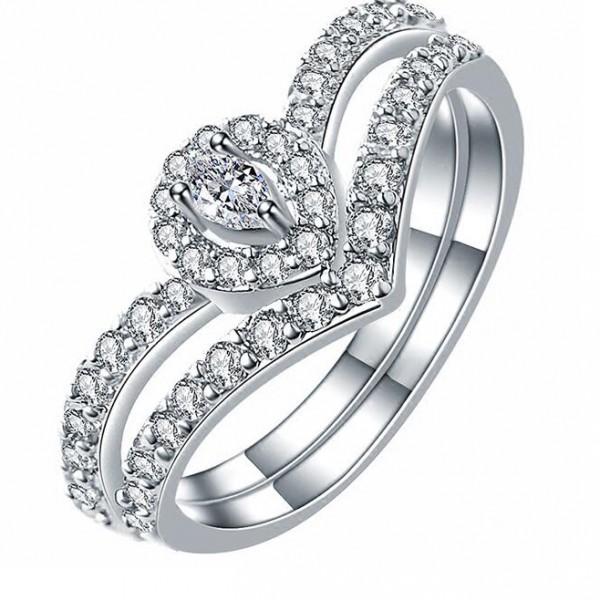 Fashionable Micro-Diamond Zircon S925 Sterling Silver Drops Crown Ring