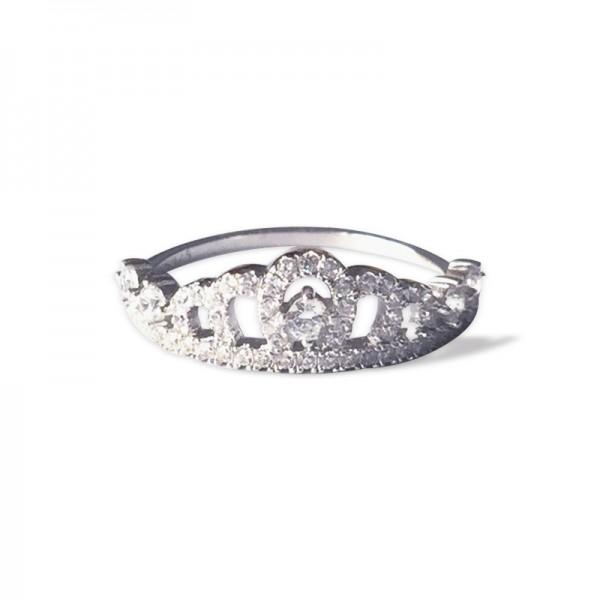 925 Silver Diamond Rhinestone Crown Ring