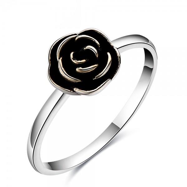 Sterling Silver Gold Plated Sliver Rose Flower Rings