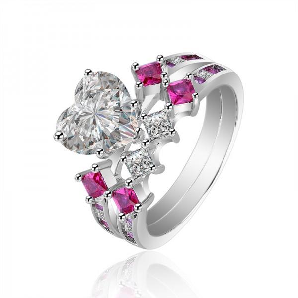 Hear Cut White Sapphire S925 Sterling Silver Wedding Bridal Sets Rings