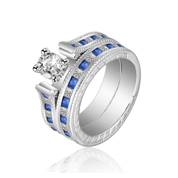 Classic Romance Oval Cut White Sapphire Cz Wedding Sets