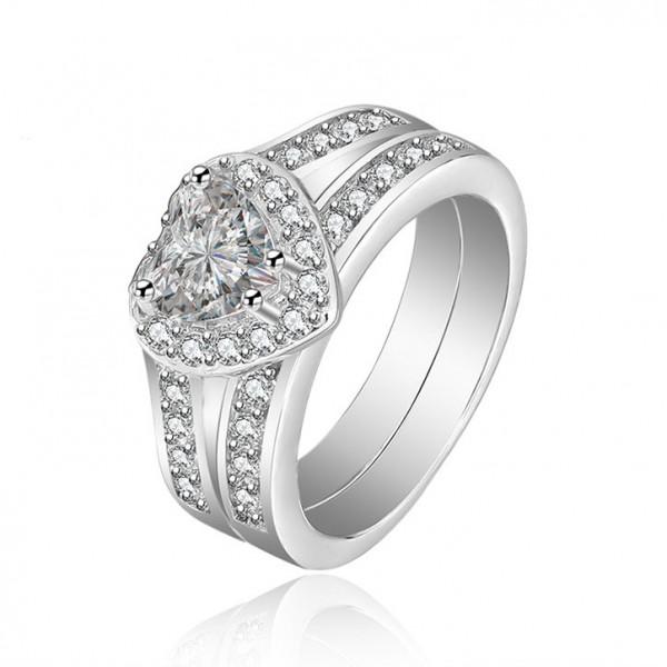 Heat Shaped White Sapphire Cz Wedding White Gold Plating