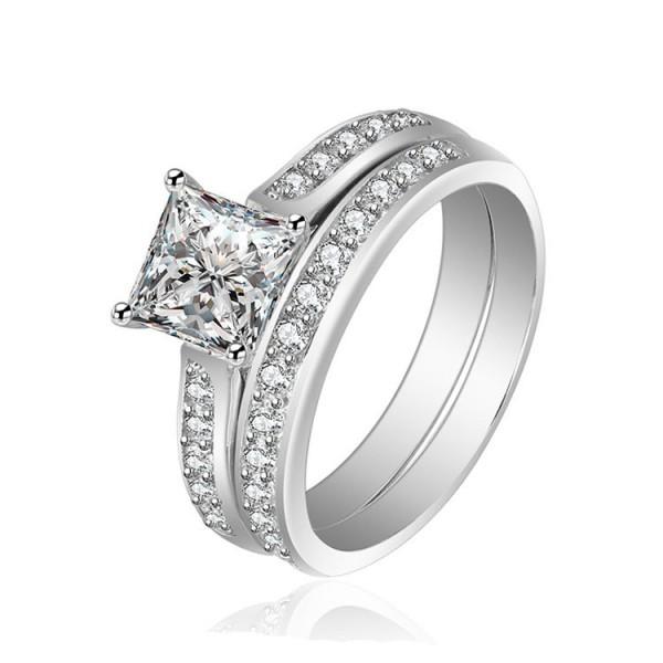 Princess Cut White Sapphire Cz Wedding White Gold Plating