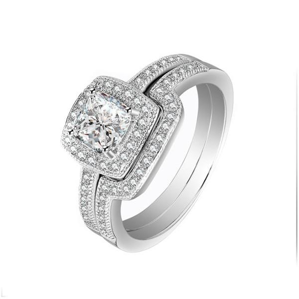 Classic S92 Princess Cut White Sapphire Cz Wedding White Gold Plating