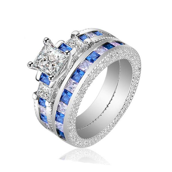 Fashion Design White And Blue Princess Cut Wedding Sets