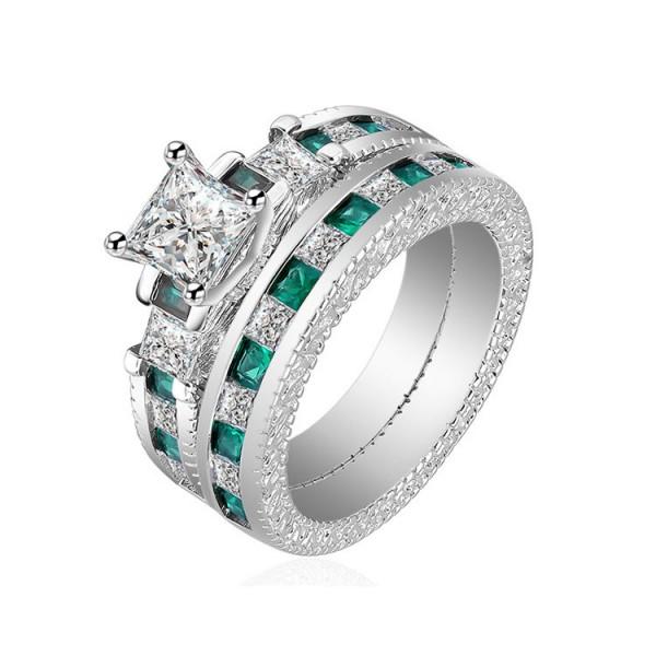 Fashion Design White And Green Princess Cut Wedding Bridal Sets