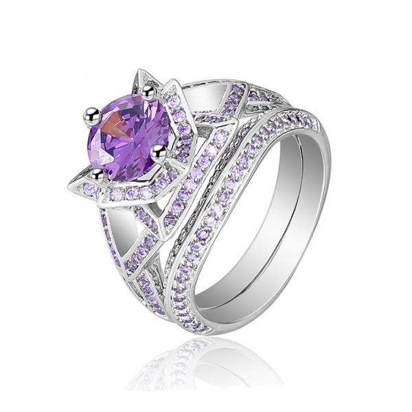 Vogue Purple Cz 925S Flower Design Wedding Promise Rings