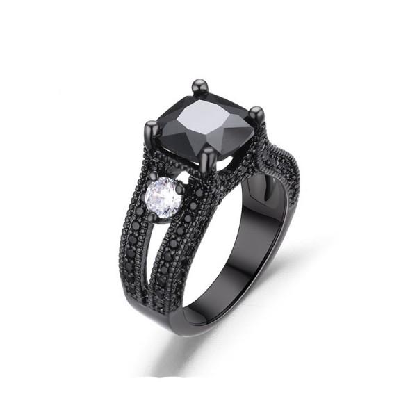 Hot Sale S925 Sterling Silver Platinum Plating Black Cz Wedding Rings