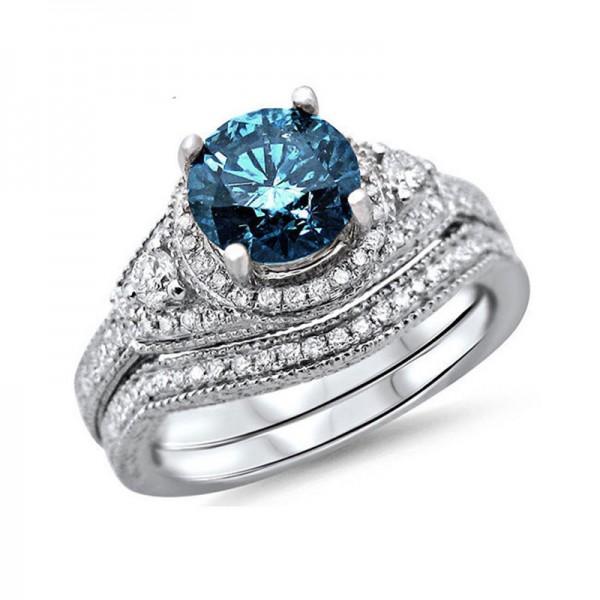 Romantic S925 Sterling Silver Vintage Bridal Ring Set