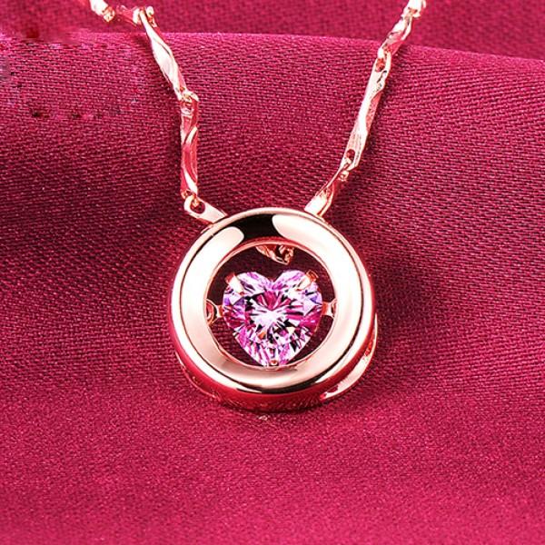 Heartbreaking 0.5 Carat Rose Gold Color ESCVD Diamonds Fashionable Women Necklaces Gift Necklaces