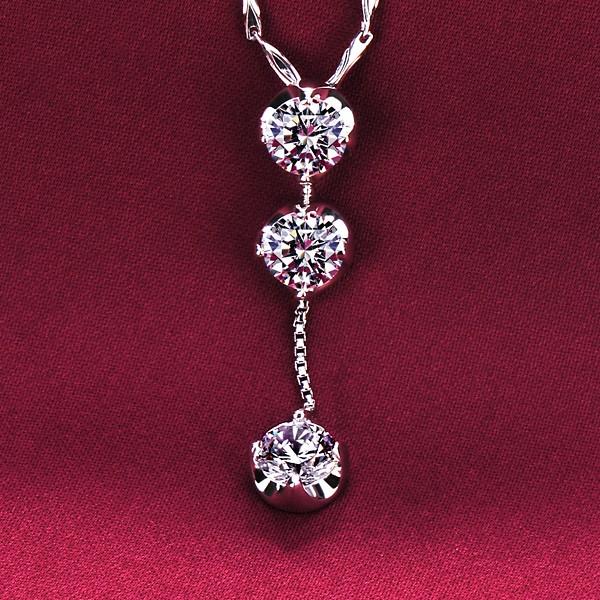 Original Design Three Diamonds ESCVD Diamonds Fashionable Women Necklaces Gift Necklaces