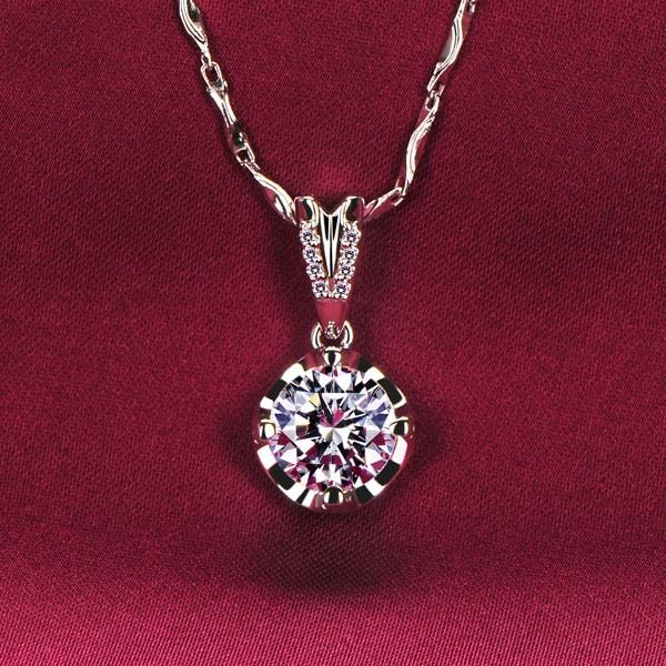 2.0 Carat Round Shape ESCVD Diamonds Fashionable Women Necklaces Gift Necklaces