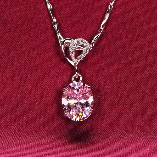 2.0 Carat Oval Pink Diamonds ESCVD Diamonds Fashionable Women Necklaces Gift Necklaces