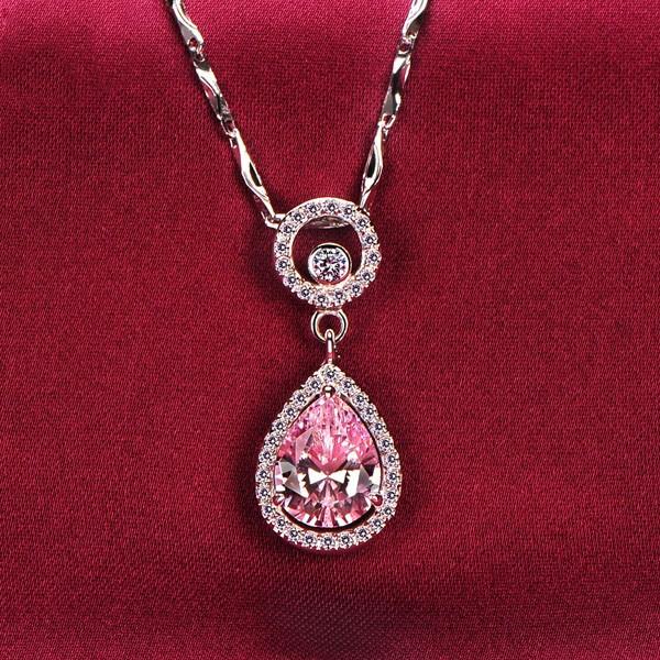 2.0 Carat Water Drop Pink Diamonds ESCVD Diamonds Fashionable Women Necklaces Gift Necklaces