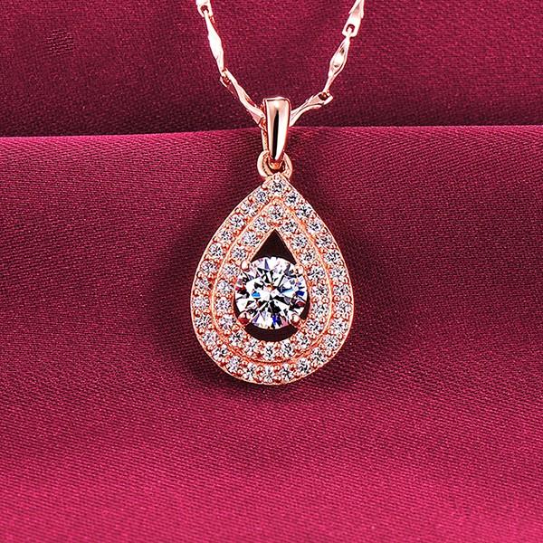 0.5 Carat Water Drop Rose Gold Color ESCVD Diamonds Fashionable Women Necklaces Gift Necklaces