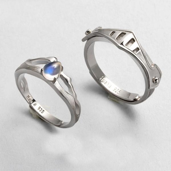 Original Design Natural Moonstone Princess and Knight Lovers Ring
