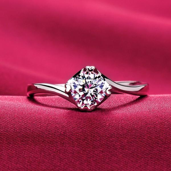 Delicate 0.5 Carat ESCVD Diamonds Pt 950 Wedding Ring Women Ring