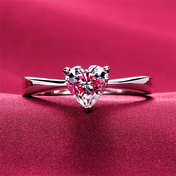 0.6 Carat Heart Shape ESCVD Diamonds Pt 950 Wedding Ring Women Ring