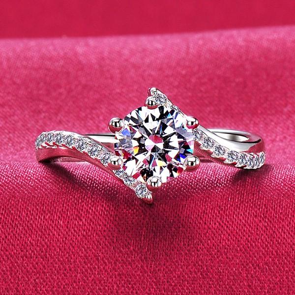 Impressive ESCVD Diamonds Pt 950 Wedding Ring Women Ring