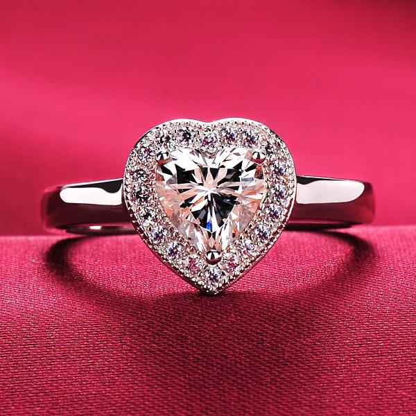 0.6 Carat ESCVD Diamonds Pt 950 Wedding Ring Women Ring