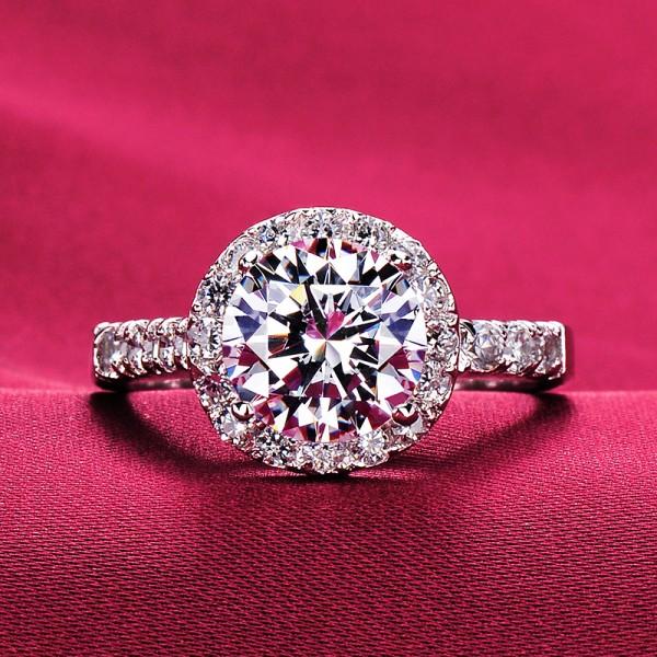 Valuable 2.0 Carat ESCVD Diamonds Pt 950 Wedding Ring Women Ring