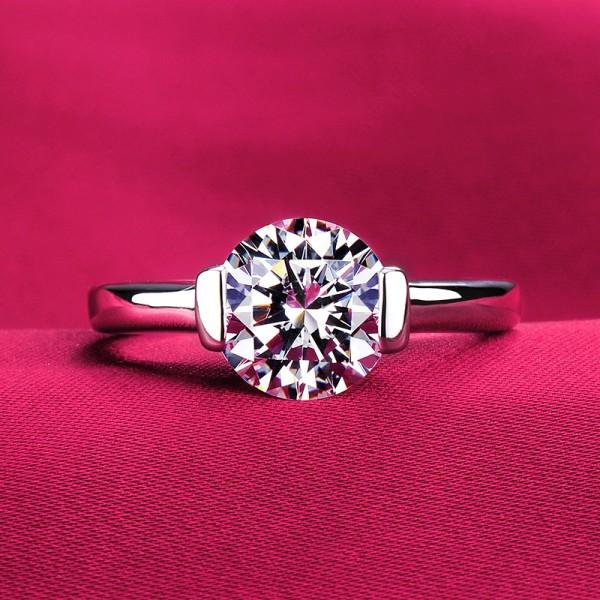 Sparkling ESCVD Diamonds Pt 950 Wedding Ring Women Ring
