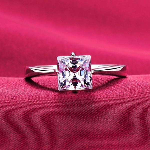 1.0 Carat Four Claw ESCVD Diamonds Pt 950 Wedding Ring Women Ring