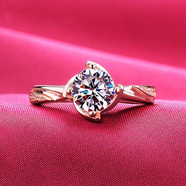 Elegant 1.2 Carat Rose Gold Color ESCVD Diamonds Lovers Ring Wedding Ring For Her