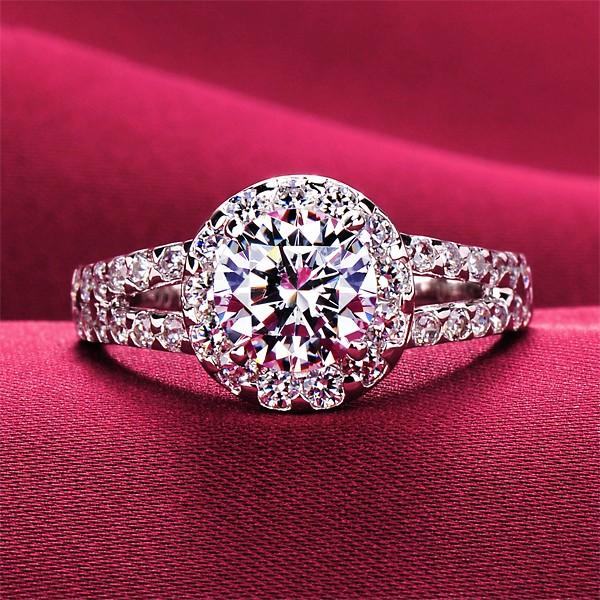 1.0 Carat Big Diamond Ring ESCVD Diamonds Lovers Ring Wedding Ring For Her