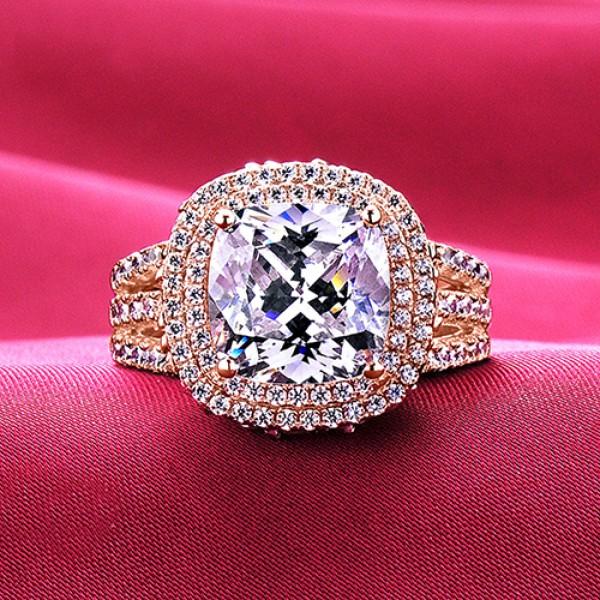 4.0 Carat Big Diamonds Rose Gold Color ESCVD Diamonds Lovers Ring Wedding Ring Women Ring