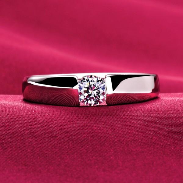 0.39 Carat Simple ESCVD Diamonds Lovers Ring Wedding Ring Men Ring