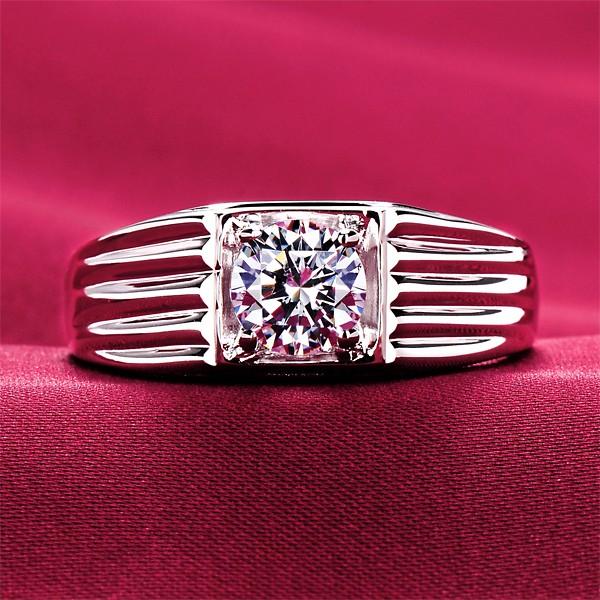 0.6 Carat Linear ESCVD Diamonds Lovers Ring Wedding Ring Men Ring