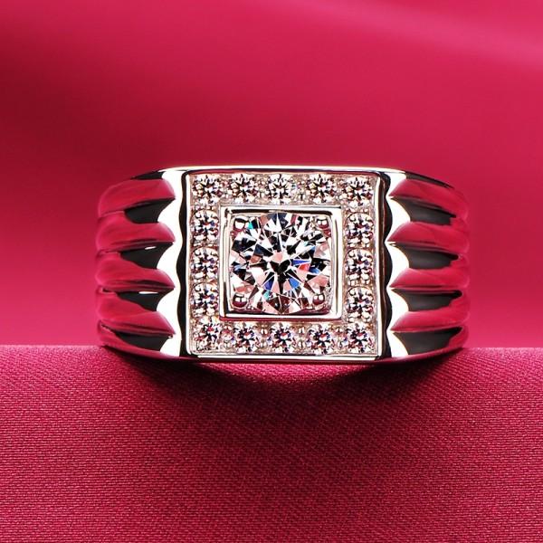 0.8 Carat Angular ESCVD Diamonds Lovers Ring Wedding Ring Men Ring