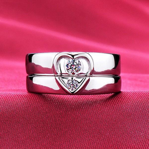 Heart Shape ESCVD Diamonds Lovers Rings Wedding Rings Couple Rings
