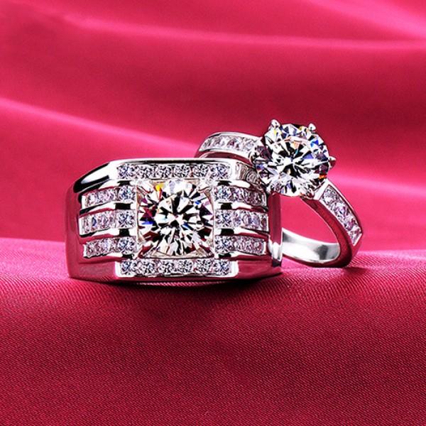 Impressive Big Diamonds ESCVD Diamonds Lovers Rings Wedding Rings Couple Rings