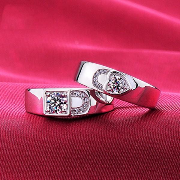 Heart Shape Advanced ESCVD Diamonds Lovers Rings Wedding Rings Couple Rings