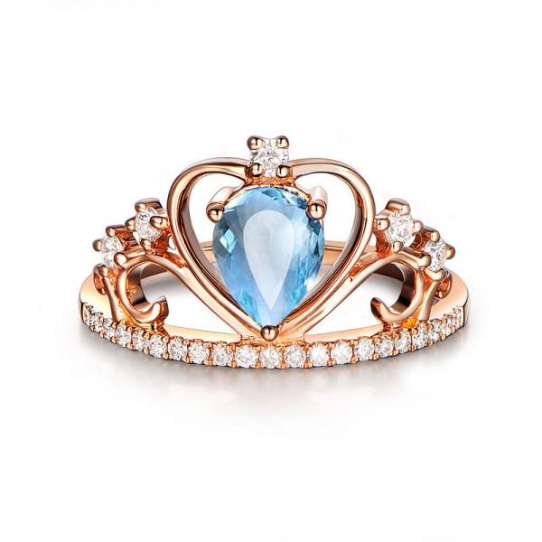 Natural Blue Topaz Crown Rose Gold  Ring For Women