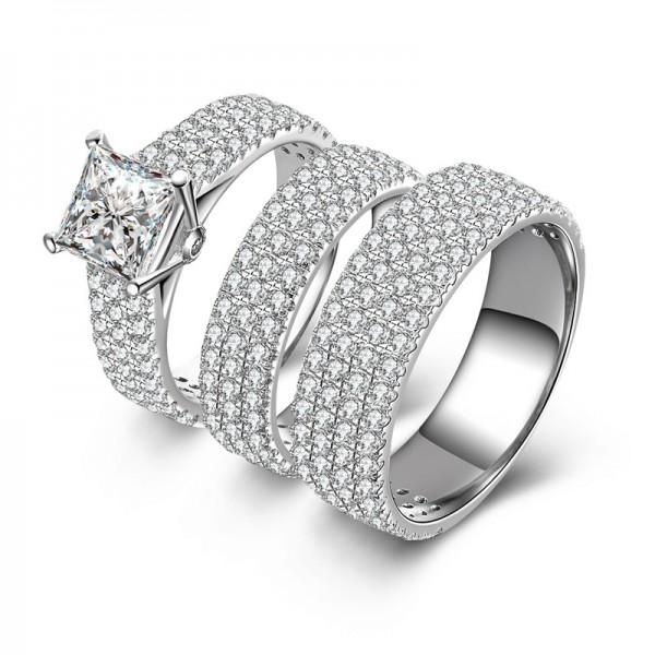 Valentine's Day Gift SONA Diamond 925 Sterling Silver Wedding/Promise Ring Set