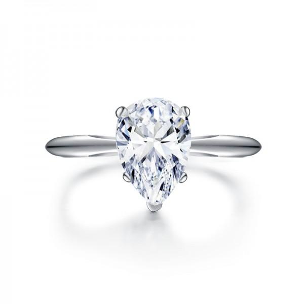 Simple Drop Shape SONA Diamond 925 Sterling Silver Wedding/Promise Ring