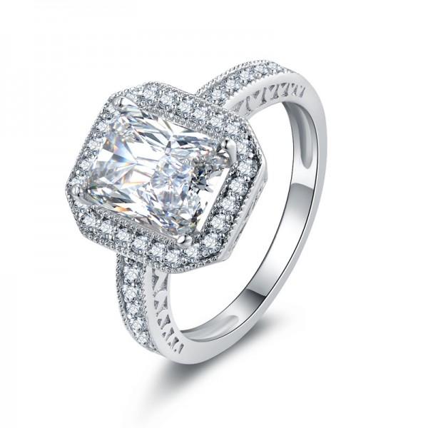 Fashion Quality Custom SONA Diamond 925 Sterling Silver Wedding/Promise Ring