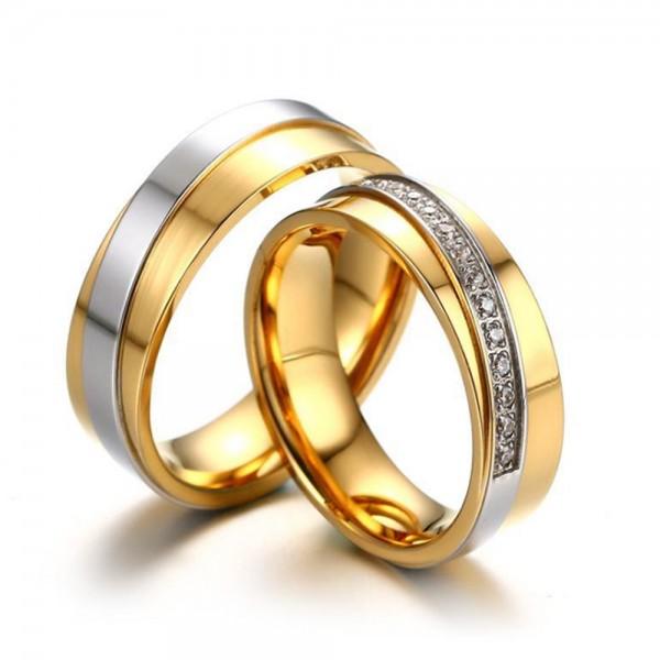 Titanium Golden Ring For Couples Inlaid Cubic Zirconia Vogue and Unique Design