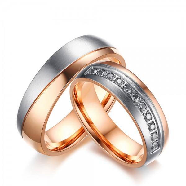 Titanium Rose Gold Ring For Couples Inlaid Cubic Zirconia Unique and Fashion Inner Arc Design
