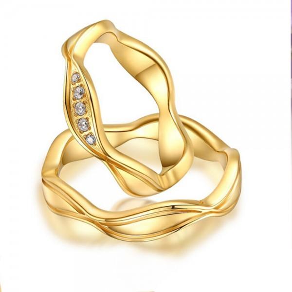 Titanium Golden Ring For Couples Waving Design Inlaid Cubic Zirconia Unique and Exquisite